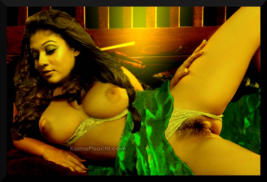 nayantara showing her big boobs and hairy pussy